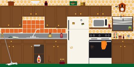Binnenland van een oude vuile verouderde keuken vóór vernieuwing, EPS 8 vectorillustratie Stockfoto - 92208951
