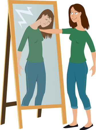 Woman in front of a mirror comforting her own reflection as a metaphor for self-care, EPS 8 vector illustration Illustration