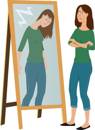거울, EPS 8 벡터 일러스트에서 자신의 부끄러워 리플렉션을 판단하는 여자