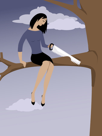 Woman sawing off a tree branch she is sitting on as a metaphor for self-sabotage, EPS 8 vector illustration Vettoriali