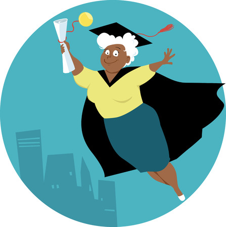 Mature black woman in a graduation cap and gown with a grade school diploma, EPS 8 vector illustration