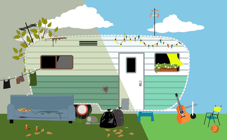 Camper trailer home before and after renovation, EPS 8 vector illustration