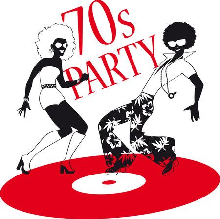 젊은 부부 빈티지 레코드에 디스코 춤 1970 년대 패션을 입고. 일러스트