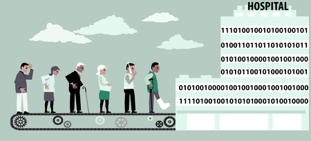 Conveyor bringing patients into a digital hospital, EPS 8 vector illustration