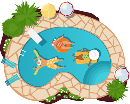 Group of senior citizens relaxing in a pool, view from above.