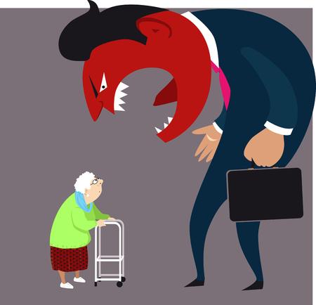 長老は老婦人に向かって叫ぶ怪物の男を虐待する。