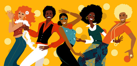 Group of young people dressed in 1070s fashion dancing in a disco club, EPS 8 vector illustration
