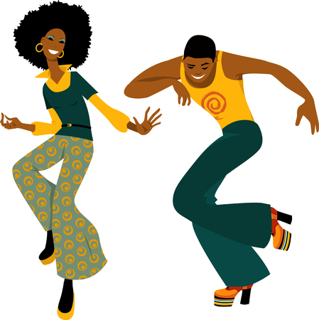 Young couple dressed in 1970s fashion dancing disco, EPS 8 vector illustration