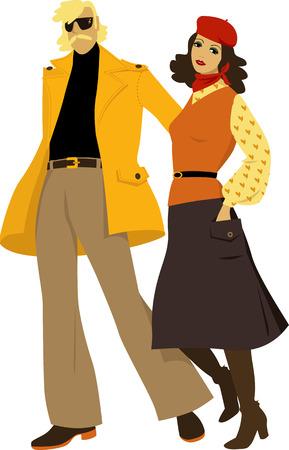Stylish couple dressed in 1970s everyday fashion, vector illustration. Ilustração