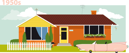 1950s suburban house with a vintage cabriolet car in front of it, vector illustration. Ilustracja