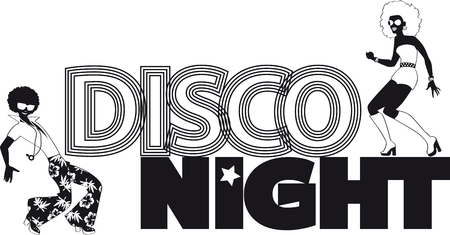 Disco night black vector silhouette banner with a couple of dancers, EPS 8, no white objects. 矢量图像