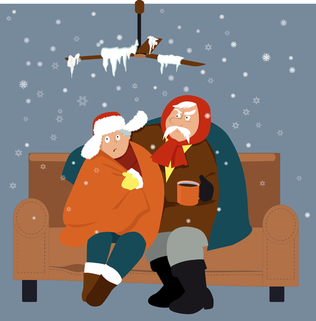 Senior couple sitting on a couch in a cold house in winter, EPS 8 vector illustration Çizim