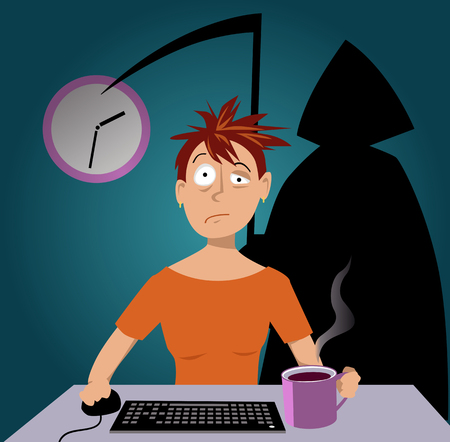 Woman working late at night, grim reaper standing over her shoulder, EPS 8 vector illustration