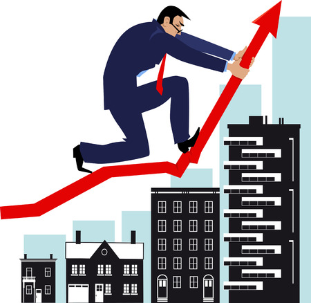 Man bending a graph upwards, attempting to manipulate housing market, EPS 8 vector illustration