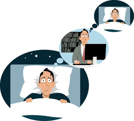 Man lying in bed sleepless, thinking of work, where he's thinking of night rest, EPS 8 vector illustration