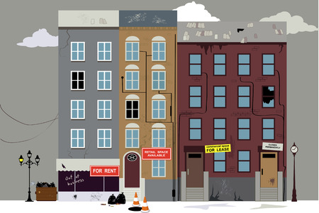 Dilapidated neighborhood with empty commercial and office space for rent vector illustration. Çizim