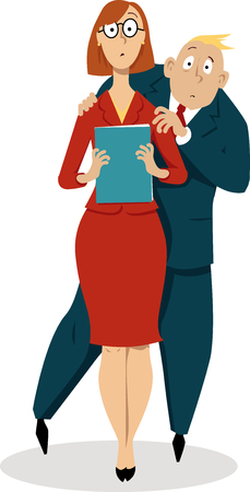 Businessman hiding behind back of a female co-worker