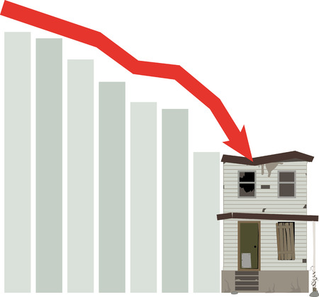 Graph representing a housing market crash, destroying a house vector illustration. Иллюстрация