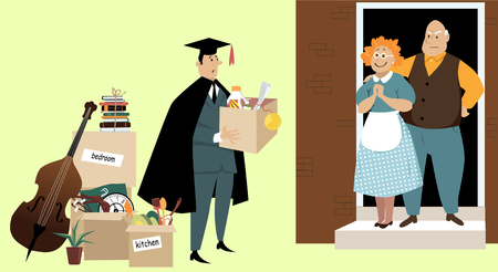 College Graduate Moving Back Home With His Parents After University Illustration