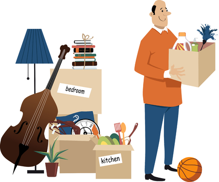 Happy middle age man standing with boxes ready to move to a new home Illustration