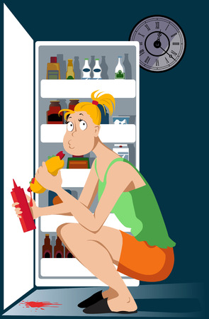 Young woman binge eating a hot dog in front of an open fridge late at night vector illustration.