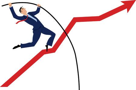 Poste de empresario saltando sobre un gráfico ascendente