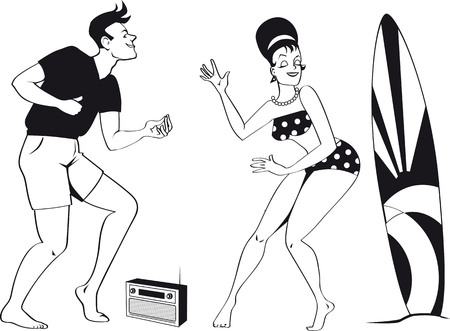 Young couple dressed in 1960s beach fashion dancing the Twist listening to a transistor radio, EPS 8 black vector silhouette, no white objects Foto de archivo - 96310421