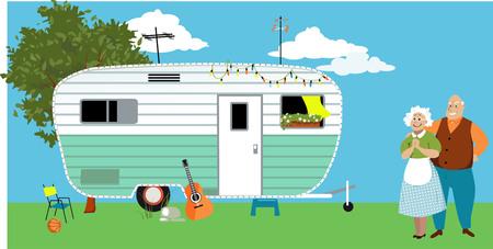 Hoger paar die zich voor een kampeerwagenaanhangwagen of een motorhuis, EPS 8 vectorillustratie bevinden Vector Illustratie