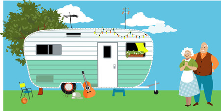 Senior couple standing in front of a camper trailer or motor home, EPS 8 vector illustration Illustration