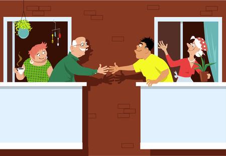 Hoger paar die nieuwe buren begroeten die zich op een terras bij een pensioneringsgemeenschap met meerdere gezinnen bevinden, EPS 8 vectorillustratie