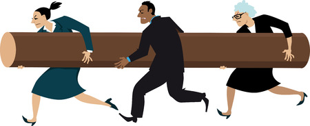 Diverse group of business people running with a battering ram, EPS 8 vector illustration