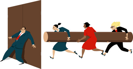 Three women with a battering ram attempting to break the door, hold shut by a male executive, EPS 8 vector illustration Stock Illustratie