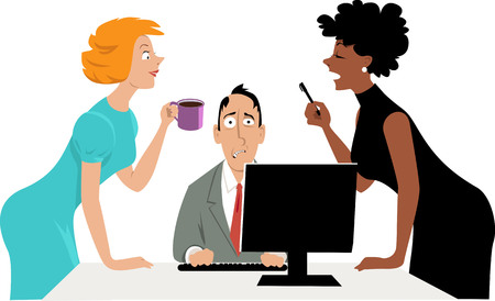 Annoyed businessman trying to concentrate on work while his two female co-workers talking over his head, EPS 8 vector illustration