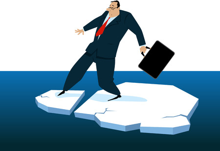 Businessman loosing his balance on a broken ice floe, EPS 8 vector illustration