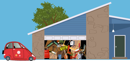 No room for a car in a garage of a hoarded, overfilled with stuff, EPS 8 vector illustration 일러스트