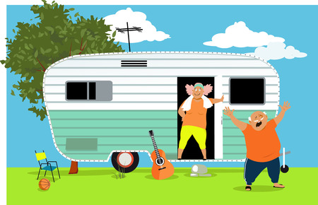 Mature couple at the mobile home early in the morning, vector illustration.