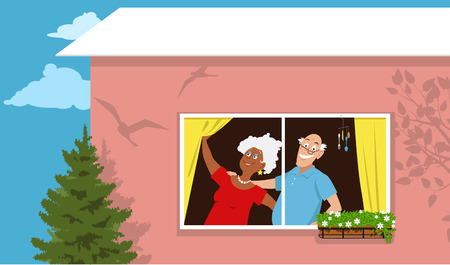 Retired couple standing at the window in their new condo, vector illustration. Illustration