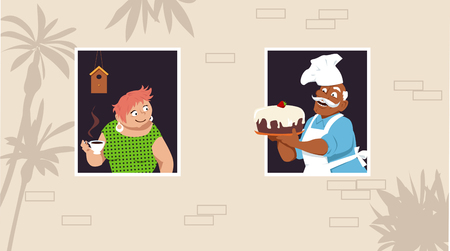 Senior man showing a home made cake to his neighbor who is drinking coffee at the window vector illustration.
