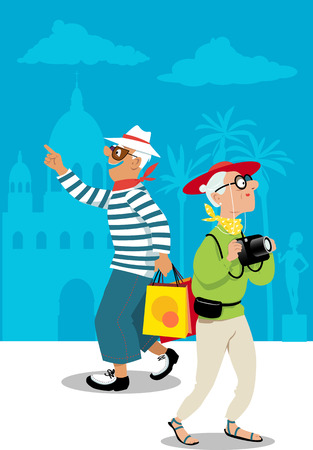 Couple of mature tourists exploring an exotic location, shopping and taking photos, vector illustration.