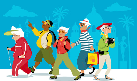 Group of active senior tourists exploring an exotic city vector illustration.