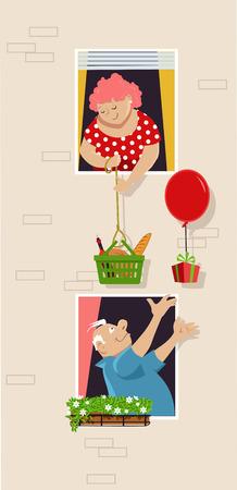 Senior couple exchange gifts window to window vector illustration.