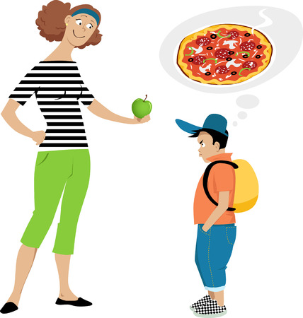 Mother giving an apple to a displeased boy who wants pizza, vector illustration