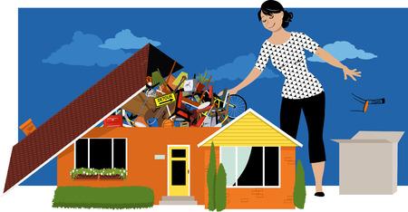 Kobieta dekluttering, wyrzucanie rzeczy z domu, przepełniona rzeczami, ilustracji wektorowych EPS 8