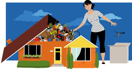 Woman decluttering, throwing away things from a house, overflown by stuff, EPS 8 vector illustration Stock Illustratie