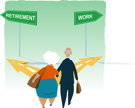 Senior couple standing at the crossroad between retirement and continuing working,  vector illustration Illustration