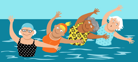 Group of mature women doing water aerobic exercises,  vector illustration