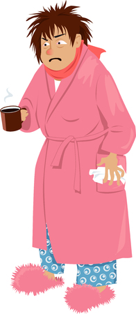 Cartoon man suffering from common cold or flu vector illustration
