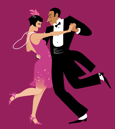 Couple dressed in 1920s fashion dancing the Charleston vector illustration.