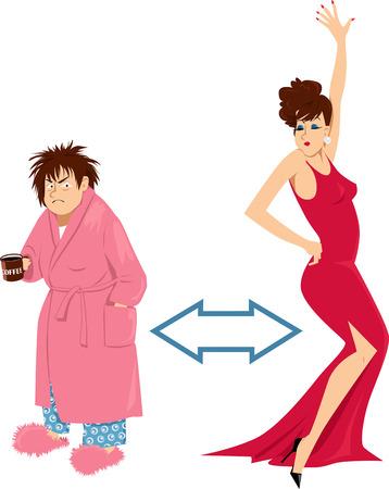 Transformatie van een vrouw van haar ochtend knorrige zelf naar een glamoureuze persoon in de avond.