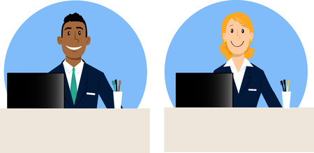 Male and female bank tellers characters, vector illustration